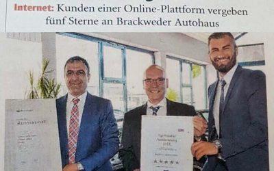 Fünf Sterne Auszeichnung für Autohaus Alkis durch Kunden einer Interplattform
